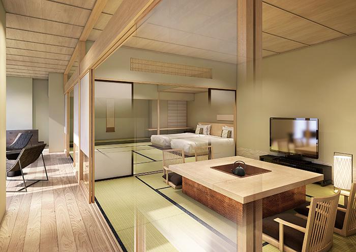 伝統的な建築要素を残しつつ、白木の明るい色彩で静謐(せいひつ)な和を表現したデザインへとリニューアルした部屋「高輪花香路」