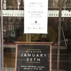 ブライアント・パークにWhole Foods Marketが1月28日、オープン!