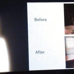 大型スクリーンを使い、自宅の部屋のBefore、Afterを写真で説明する佐々木典士さん=4日、ニューヨーク(撮影:吉田)