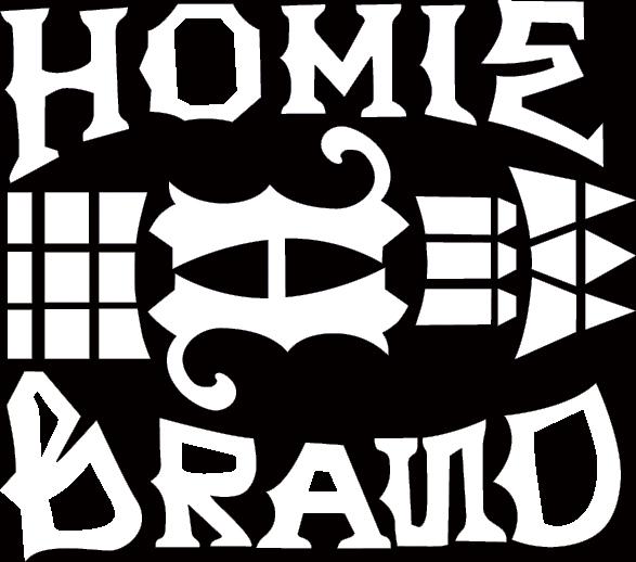 KEIさんが経営する、チカーノスタイルブランド「HOMIE」(www.homie-japan.com/)のロゴ