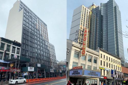 私が住み始めた80年代は電灯も少なく薄暗かったハーレム。今や左は17階建てコンド、右は27階建てホテル&コンド